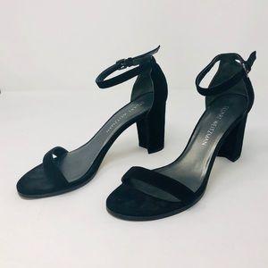 Stuart Weitzman Black Suede Heeled Sandal Size 7.5